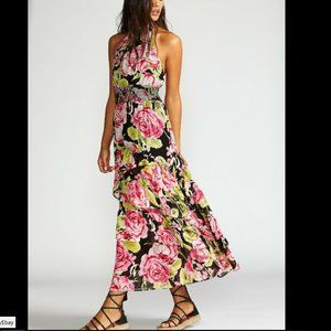 FREE PEOPLE In Full Bloom Black Combo Floral Dress